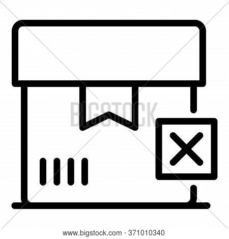 Canceled Box Icon. Outline Canceled Box Vector Icon For Web Design Isolated On White Background