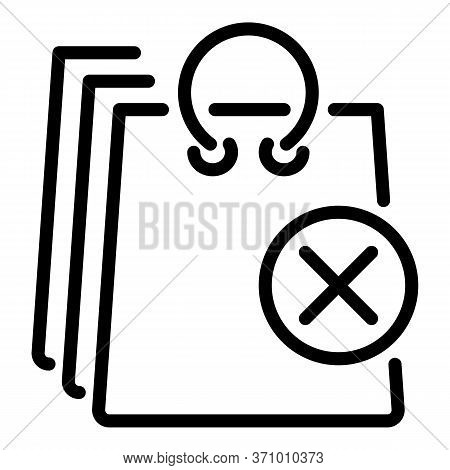 Canceled Delivery Bags Icon. Outline Canceled Delivery Bags Vector Icon For Web Design Isolated On W