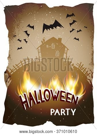Vector Halloween Illustration With Abandoned House And Burning Lettering On Old Torn Paper Backgroun