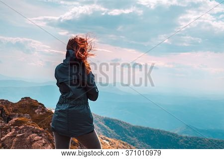 Traveling Outdoor Hiking In Nature.traveling In Nature. Woman Travel Outdoor In Nature. Nature. Trav