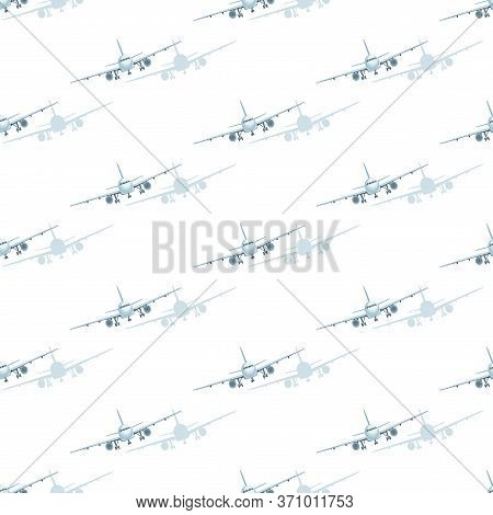 Airplane. Aircraft Pattern. Vector Flat Illustration Of Airplanes, View Of Flying Airplanes. Design