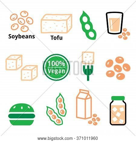 Soy Beans, Soya, Tofu Vector Icon Set - Healthy, Vegetarian Or Vegan Food Color Design