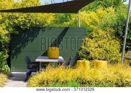 Sunny Green Yellow Garden Design With Sunshade, Table And Chairs And Yellow Bushes, Plants And Potte