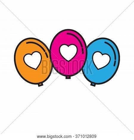 Silhouette Icons Ballons Stylish Color Line Design, Party Concept, Trendy Vector Ballon Helium Symbo