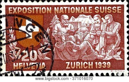 02 10 2020 Divnoe Stavropol Territory Russia The Postage Stamp Switzerland 1939 National Philatelic