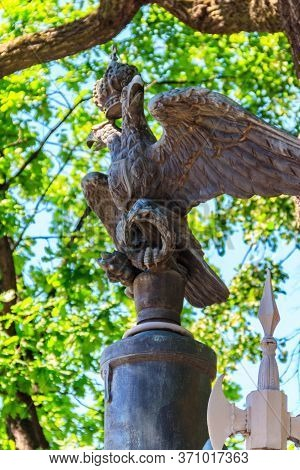 Bronze Statue Of Double-headed Eagle - The Old Coat Of Arms Of The Russian Empire