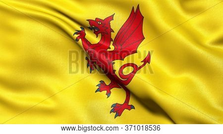 Flag of Somerset waving in the wind. 3D illustration.