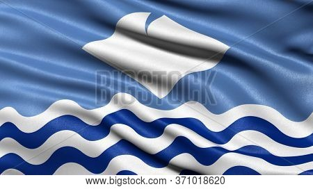 Flag of the Isle of Wight waving in the wind. 3D illustration.