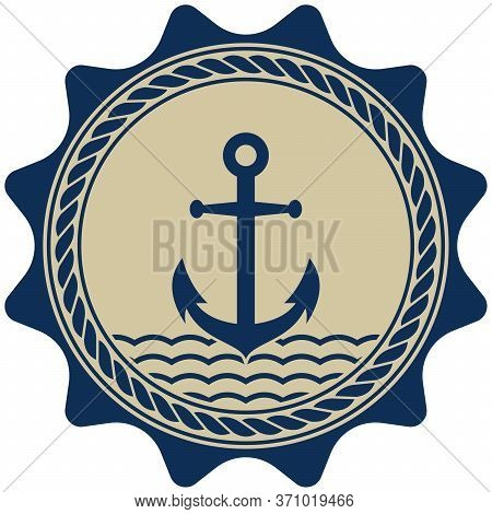 Nautical Anchor Symbol Vector With Nautical Rope In Marine Blue And Beige Color On Isolated White Ba