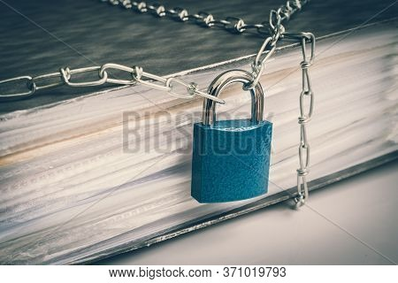 Files Locked With Chain And Padlock - Data And Privacy Security Concept - Retro Style