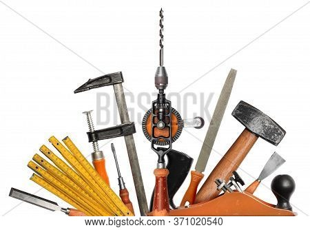 Realistic Diy Carpenter Hand Tools With Scratches, Worn In Work, Isolated Set On White Background