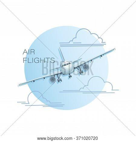 Airplane Model. Emblem, Logo. Vector Flat Illustration Of An Airplane, View Of An Airplane Flying In