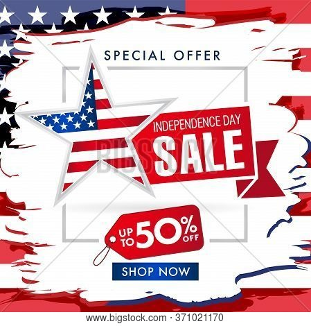 Independence Day Usa, Fourth Of July Sale Banner Brush Paint. 4th Of July United States Of America T
