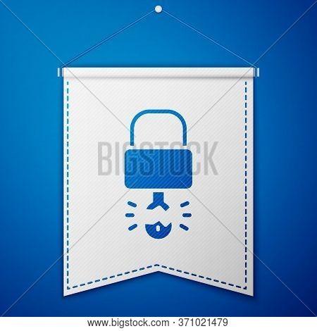 Blue Key Broke Inside Of Padlock Icon Isolated On Blue Background. Padlock Sign. Security, Safety, P