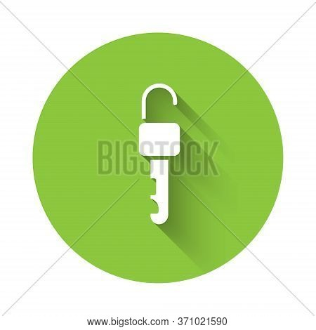 White Unlocked Key Icon Isolated With Long Shadow. Green Circle Button. Vector