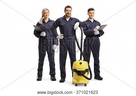 Team of cleaner workers with a professional hoover isolated on white background