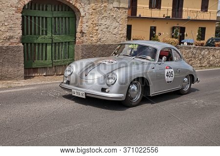 Vintage Porsche 356 1500 Gs Carrera (1956) In Classic Car Race Mille Miglia 2014, Reenactment Of The