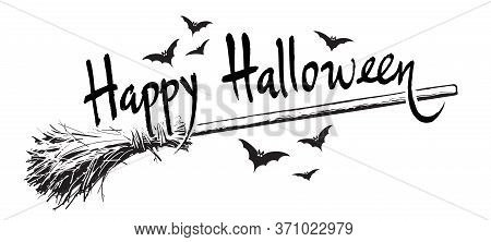 Happy Halloween Hand Drawn Lettering, Old Magic Broomstick And Flock Of Bats Sketch Style Design For