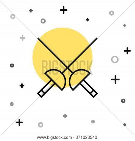 Black Line Fencing Icon Isolated On White Background. Sport Equipment. Random Dynamic Shapes. Vector