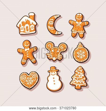 Set Of Christmas And New Year Gingerbread Cookies. Traditional Homemade Sugar Coated Cookies.cartoon