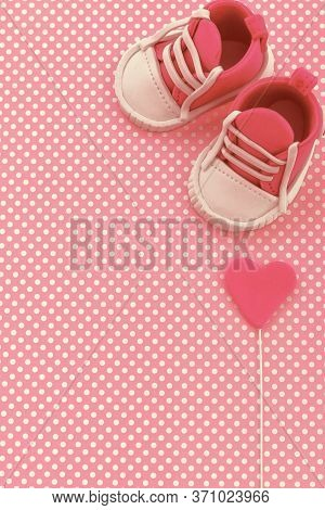 Baby Girl Pink Card. Kids Background. Baby Shower Invitation. Baby Announcement. Creative Layout Mad