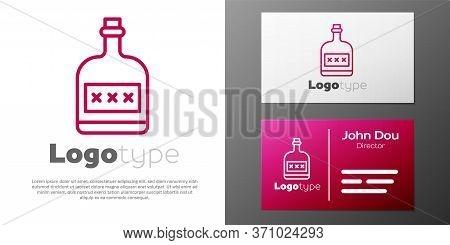 Logotype Line Alcohol Drink Rum Bottle Icon Isolated On White Background. Logo Design Template Eleme