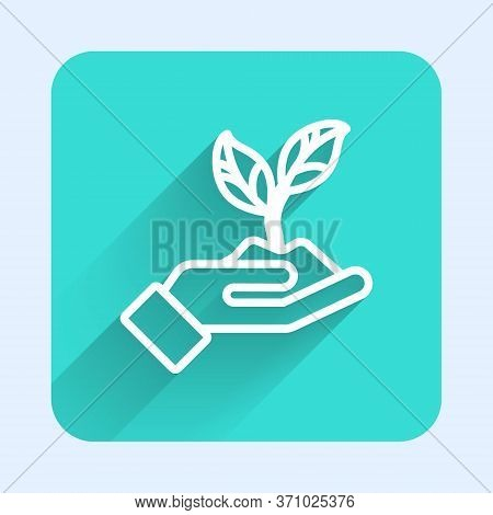 White Line Plant In Hand Of Environmental Protection Icon Isolated With Long Shadow. Seed And Seedli