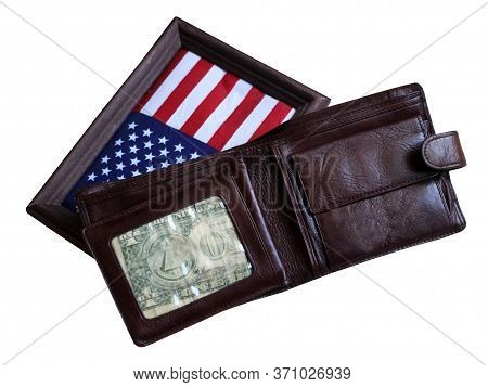 Men's Leather Wallet And American Flag In A Wooden Frame, Isolated On White