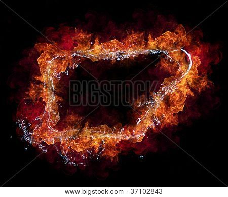 Water and fire connection in frame design, representation of elements. Isolated on black background