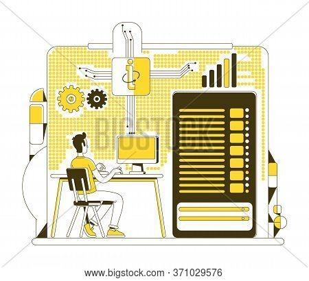 Data Center Thin Line Concept Vector Illustration. System Administrator, Technician 2d Cartoon Chara