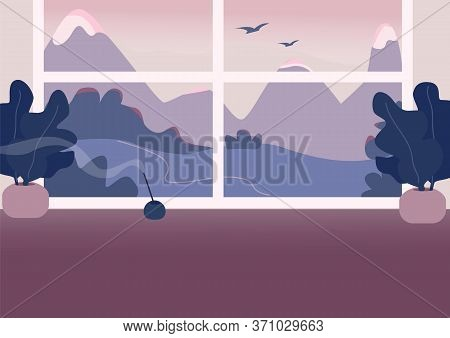 Empty Room Flat Color Vector Illustration. Luxurious Apartment 2d Cartoon Interior With Mountains On