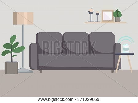 Empty Living Room Flat Color Vector Illustration. Modern Apartment 2d Cartoon Interior With Couch On