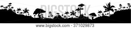 Tropical Landscape Black Silhouette Seamless Border. Exotic Palm Trees And Hills Monochrome Vector I
