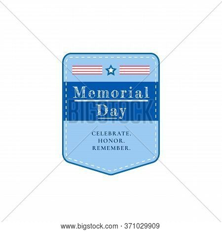 Us Memorial Day Flat Color Vector Badge. American Memorial Holiday. National United States Event Sti