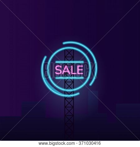 Night Sale Vector Neon Light Board Sign Illustration. Clearance Wholesale Commercial Signboard Desig