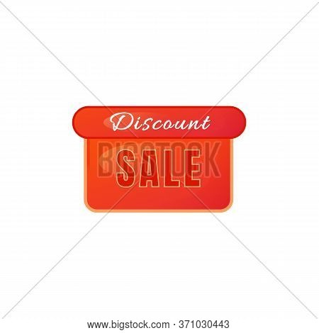Discount Sale Red Vector Board Sign Illustration. Clearance Shopping Promo Signboard Design With Typ