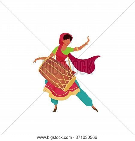 Indian Woman With Drum Flat Color Vector Faceless Character. Female In Sari Perform On Teej Festival