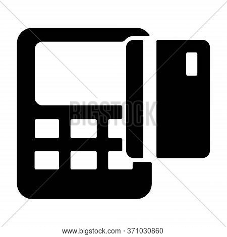 Pos Terminal Icon In Solid Line Style. Credit Card Payment, Cashless Transaction Symbol. Pos Machine