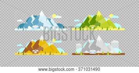 Mountain And House Flat Color Vector Objects Set. Four Seasons. Hill And Village Lodge On Summer, Sp