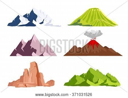 Mountains Flat Color Vector Objects Set. Ice Peaks, Green Hills. Wild Nature Landscape Elements. Dry