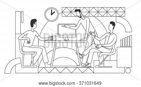 Working Process Thin Line Vector Illustration. Coworkers Discussing Business Strategy Together Outli
