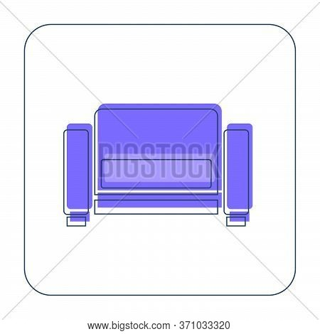 Comfortable Sofa With One Pillow. Image Of Couch In Thin Line Art Style. Element Furniture Of The In