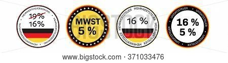 Duty And Taxes. German Tax Cut On Value-added Tax (vat). Set Of German Vat Icons In National Colors.