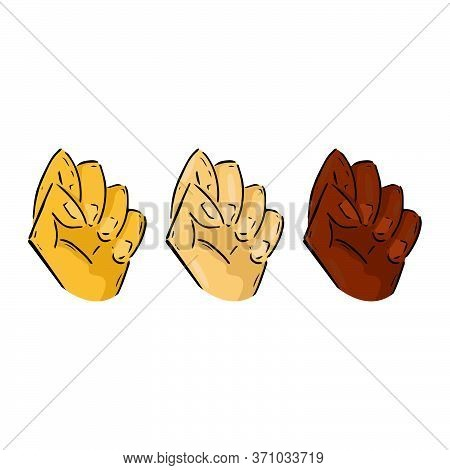 Set Of Human Hands In A Fist With Different Skin Colors. Vector Illustration Fist. Fist Up Hand Draw