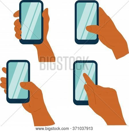 Phone In A Hand Isolated On White Background. Different Types Of Hand Holding Smart Phone. Touchpad.