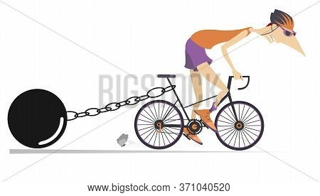 Hard Training Cyclist Illustration. Cyclist Drags A Heavy Weight To Be Connected By The Chain To His