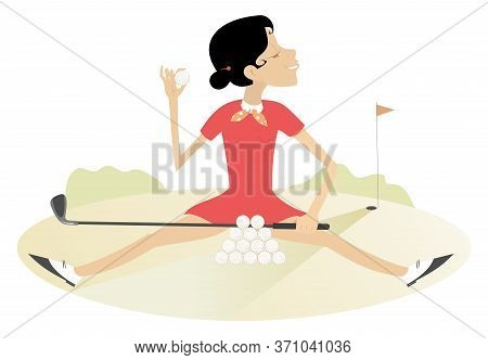 Smiling Young Woman Recreates On The Golf Course Illustration. Pretty Young Woman Sits On The Grass