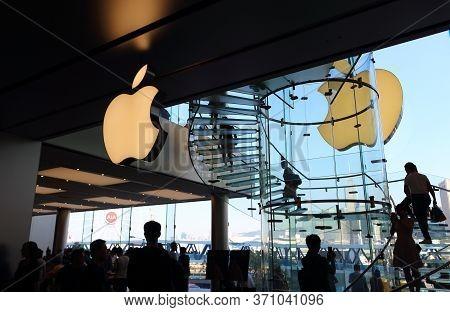 Hong Kong, China - October 6, 2018: Inside The Flagship Apple Store In Tsim Sha Tsui, Kowloon, Hong