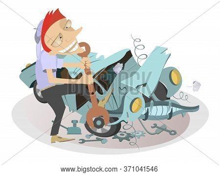 Cartoon Mechanic Repairs A Car Illustration. Cartoon Mechanic With A Big Spanner Repairs The Broken