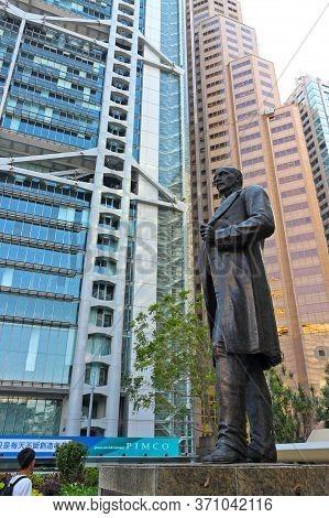 Hong Kong, China - October 6, 2018: The Bronze Statue Of Sir Thomas Jackson, 1st Baronet Is Sculptur